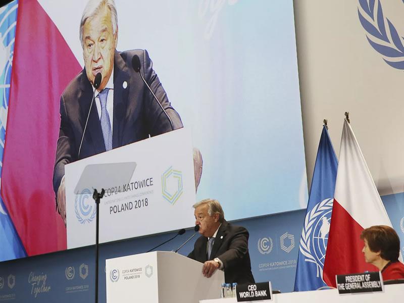 Secretário-geral da ONU alerta que planeta não pode se permitir fracassar na COP 24